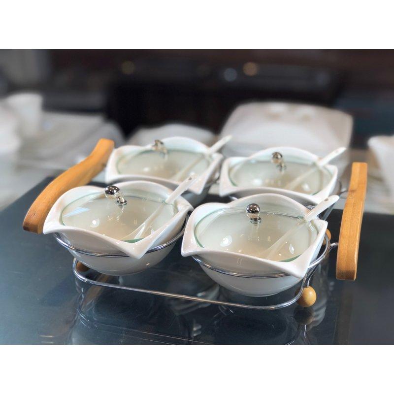 Bambus Schale 4er Set Mit Glas Deckel 13tlg 17 90