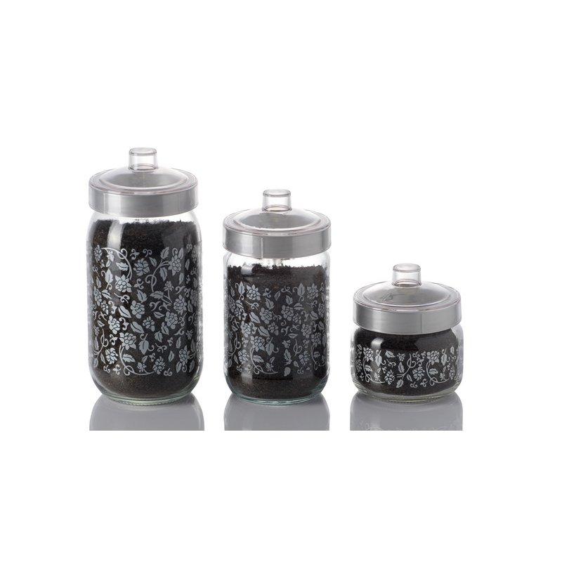 herevin dekorglas silber 1000 ml glasdose deko glas vorratsdose kavan. Black Bedroom Furniture Sets. Home Design Ideas